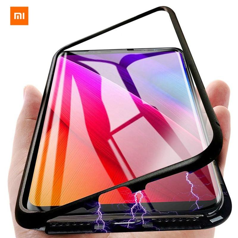 Xiaomi Phone-Case Magnet-Cover Tempered-Glass Poco F1 Metal Note-7 8-Lite Mi9 Se 6A Adsorption