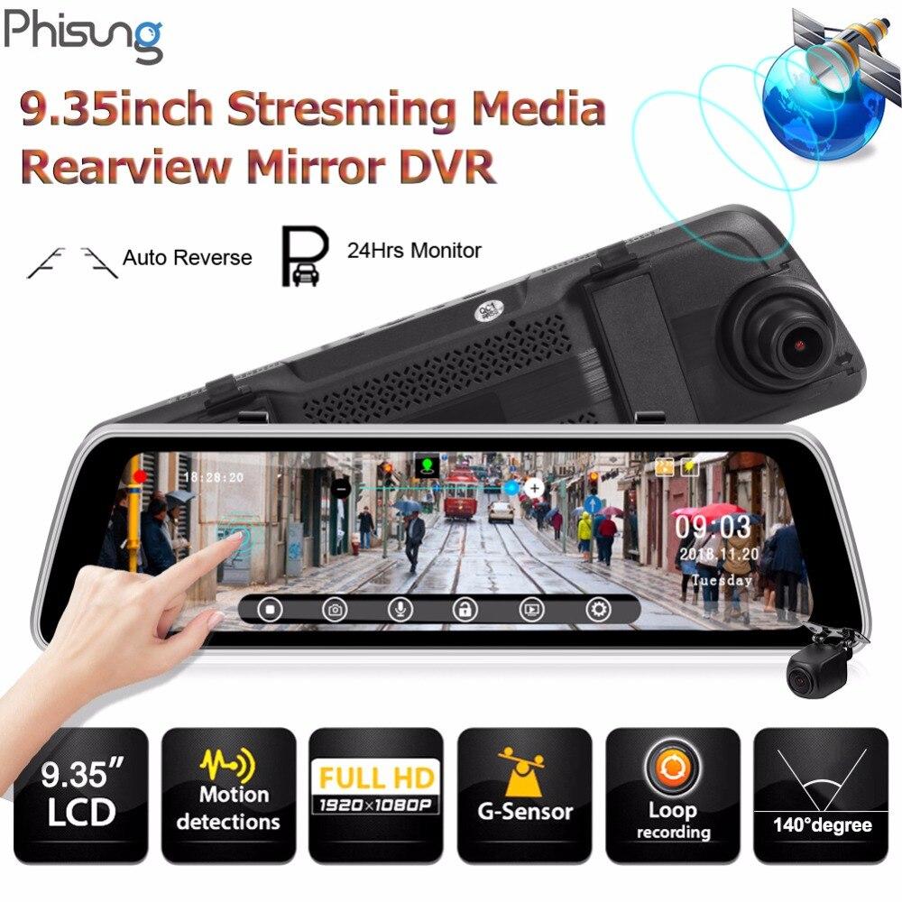 Phisung S2 Streaming 9.35 pouces Voiture DVR Miroir Caméra Vidéo GPS Piste WDR FHD 1080 p Dashcam avec 720 p arrière Cam Enregistreur Dash Cam