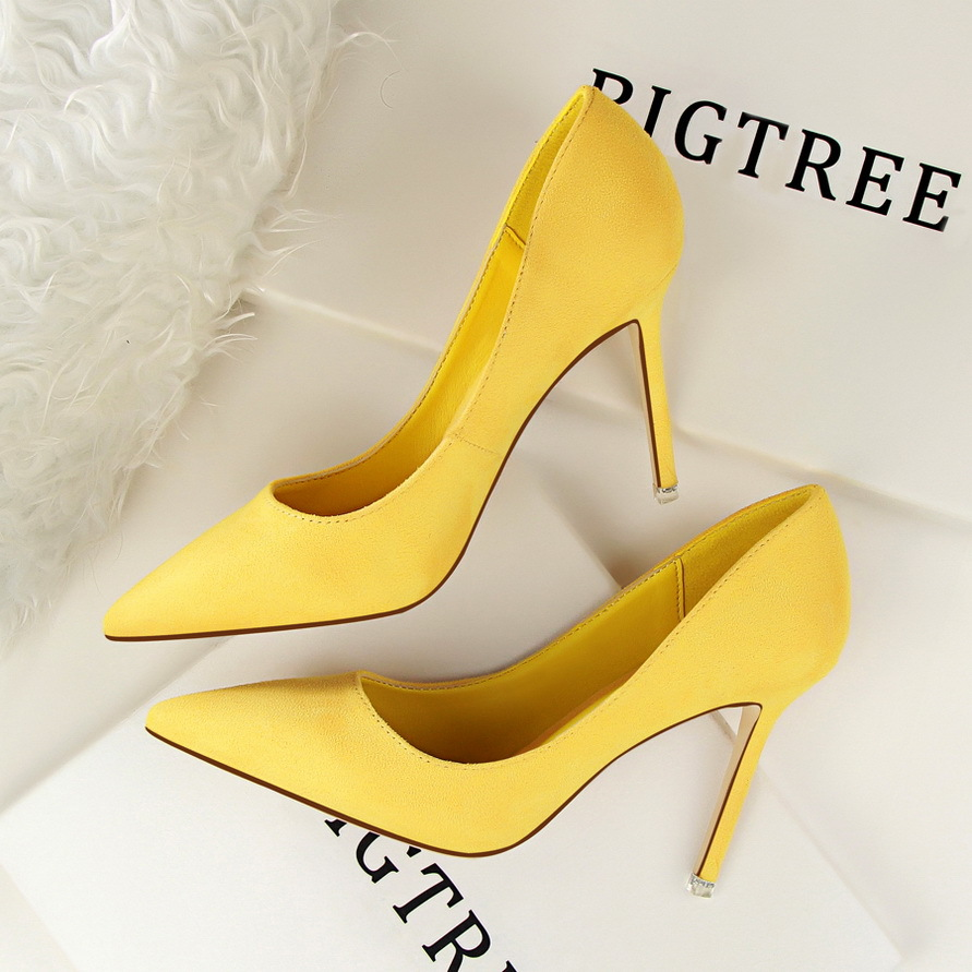 Women Pumps Flock Women Heels Shoes Slip-On Shallow High Heels Pointed Toe Wedding Shoes For Women Pumps Shoes High heeled 884 high heels european grand prix 2015 new winter bride wedding high heels nightclub wild pointed high heeled shoes women pumps page 6