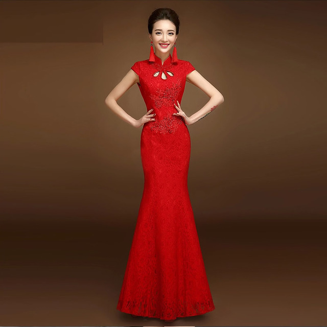 636bec1d0 2016 New Red Lace Cheongsam Dress Bride Wedding Qipao Chinese Traditional  Dress Oriental Dresses Robe Chinoise