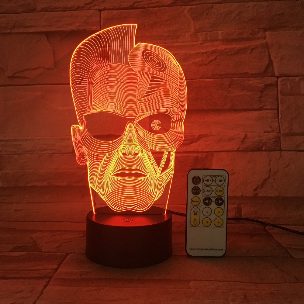 Halloween Skull Man 3D Night Light Optical Illusion Table Light Mood Lamp Touch Remote Control 7 Colors Light Friends Gift free shipping 1piece new arrive marvel anti hero deadpool figure light handmade 3d bulbing illusion lamp led mood light for kid