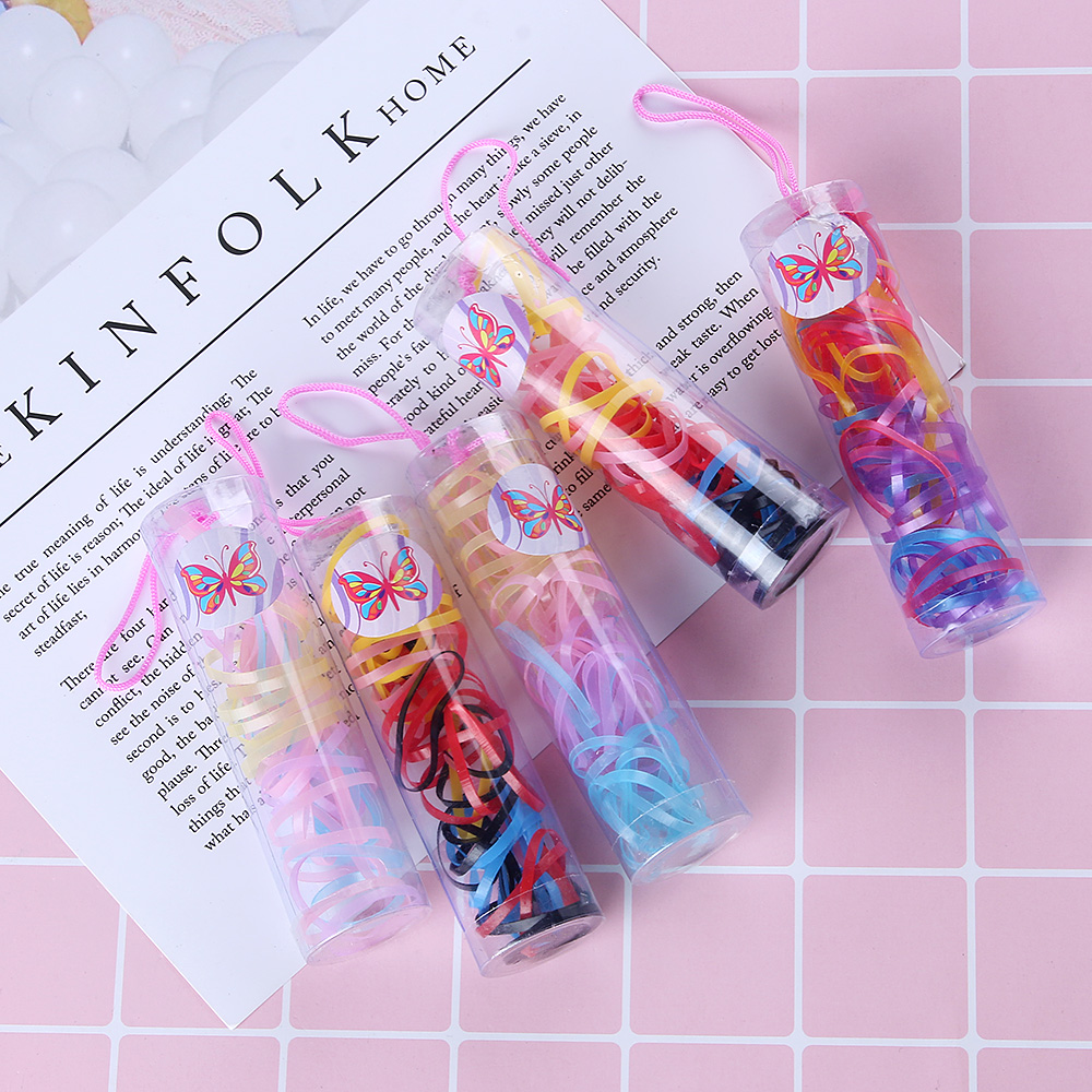 2box Bottle Colorful Rubber Rope Ponytail Holder Silicone