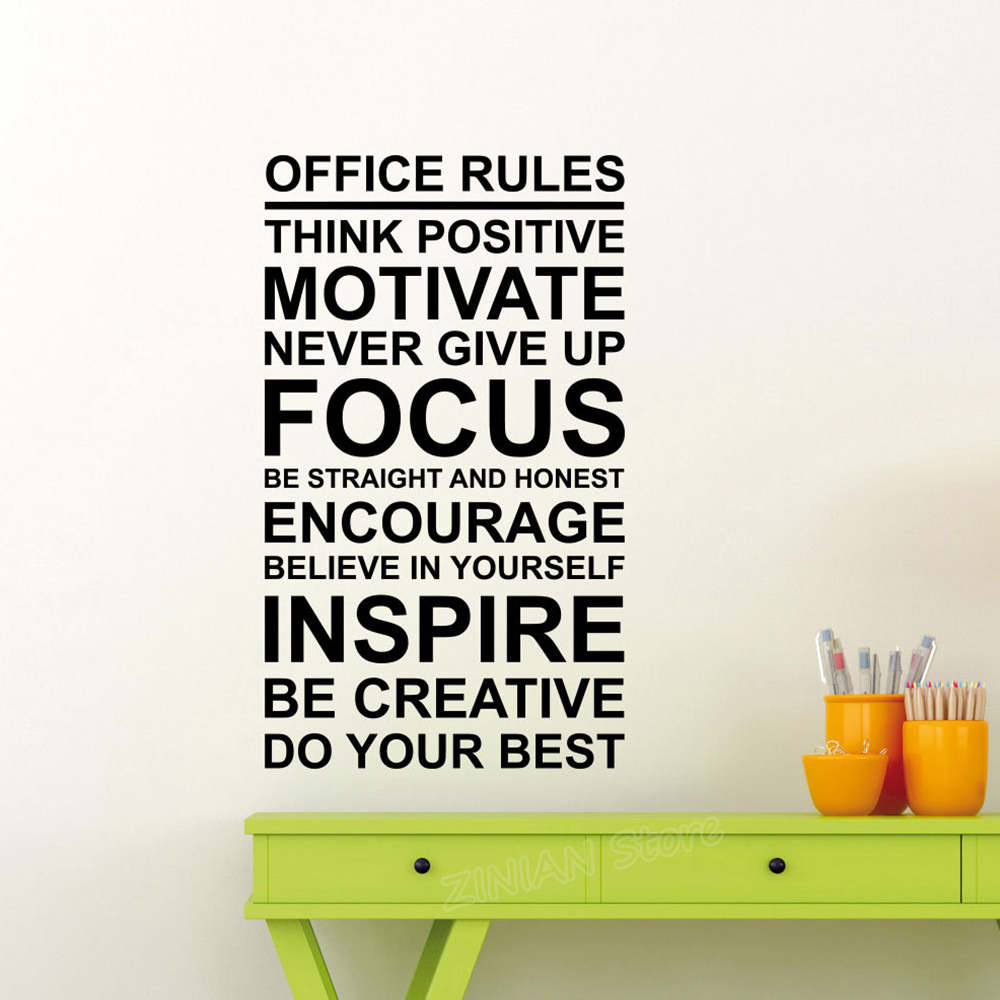 Office Rules Poster Wall Decal Work Motivation Quote Sign Think Positive Focus Teamwork Vinyl Sticker Art Business Decor Z818 image