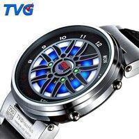 최고 브랜드 tvg led 시계 남성 창조적 인 자동차 룰렛 블루 Dispaly 이진 시계 남성 패션 남성 스포츠 시계 relogio masculino