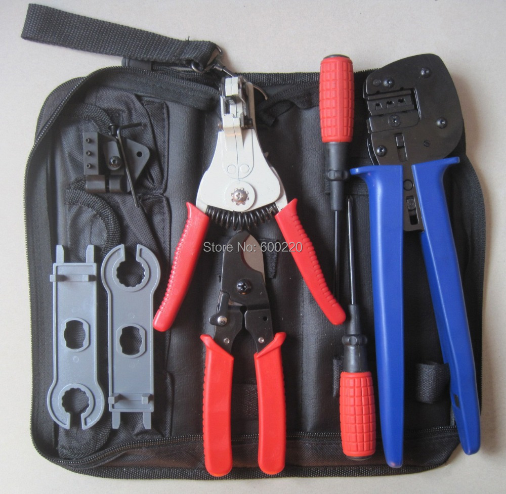Solar Crimping Tool Kits with 2.5-6.0mm2 crimping tool MC3/MC4 crimping die,solar tool set with MC4/MC3 Crimper,Stripper,Cutter mc4 ly2546b easy type solar crimping pliers tools pv connector wire crimpers solar terminal crimping tool 2 5 6mm2 for mc4
