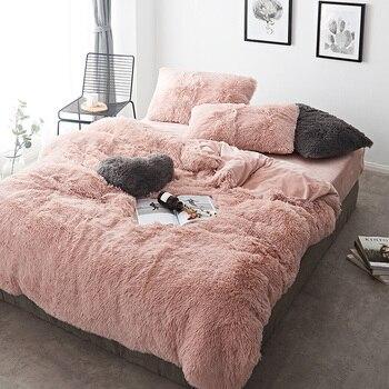 Pink White Fleece Fabric Winter Thick 20 Pure Color Bedding Set Mink Velvet Duvet Cover Bed sheet Bed Linen Pillowcases 4/6pcs 1