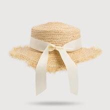 HSS New summer bow Raffia hat Temperament flat 100% Natural Straw hats Women's Sea beach vacation leisure sunscreen hat