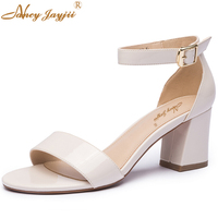 Nancyjayjii Summer 2017 Fashion Striped High Square Heel Shoes Ankle Strap Leather Sandals Women Dress Shoes