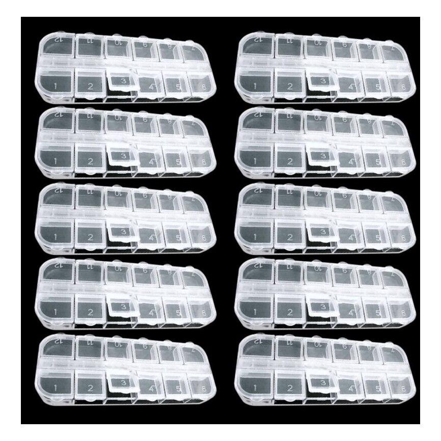 10 шт. 12 пустых разделен Пластик Box Дело Набор Дизайн ногтей украшения со стразами Новые