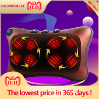Neck Massager Car Home Cervical Shiatsu Massage Neck Back Waist Body Electric Multifunctional Massage Pillow Cushion