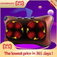 Neck Massager Car Home Cervical Shiatsu Massage Neck Back Waist Body Electric Multifunctional Massage Pillow Cushion