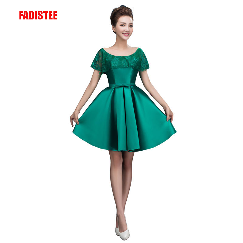 FADISTEE Hot sale   cocktail   party   Dresses   short Vestido de Festa mini sexy lace   dress   satin mini prom gown