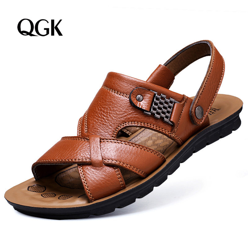 2019 Men's Summer Sandals Brand Leather Beach Sandals For Male Adult Slip-on Beach Breathable Men Casual Shoes Big Size 38-46