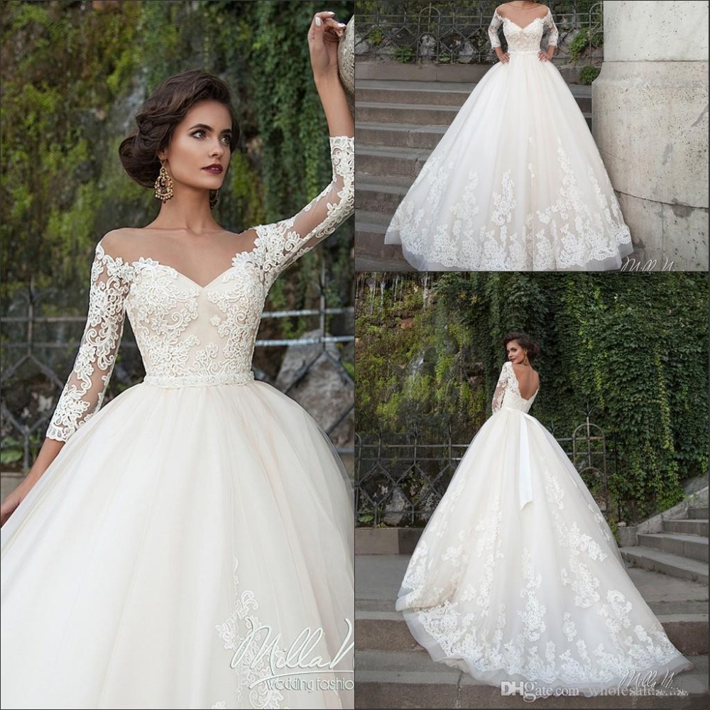 Wedding Gowns With Sashes: 2016 New Elegant Vintage Illusion Lace A Line Wedding