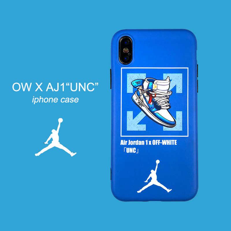 more photos f8097 8615e Street fashion OFF-X AJ1 Jordan sneakers blue matte Couple soft cover case  for iphone 6 6Plus 7 7plus 8 8Plus X phone cases