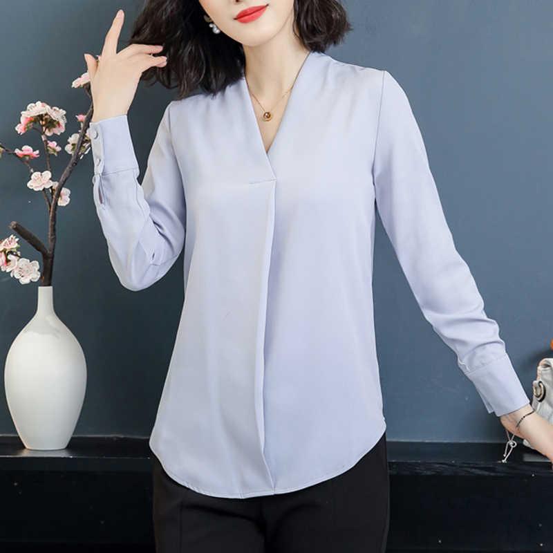 cb0738ecdb1 Подробнее Обратная связь Вопросы о 2019 блузка рубашка Блузки Мода шифон  Осень корейский стиль с длинным рукавом Стильные топы женские Костюмы белый  B11 на ...