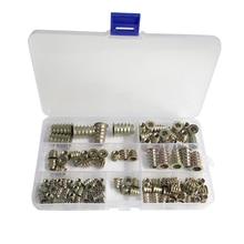 100 Pieces Furniture Hex Socket Screw Inserts M4/ M5/ M6/ M8/ M10 Zinc Alloy Threaded Insert Nuts Assortment Tool Kit for Wood