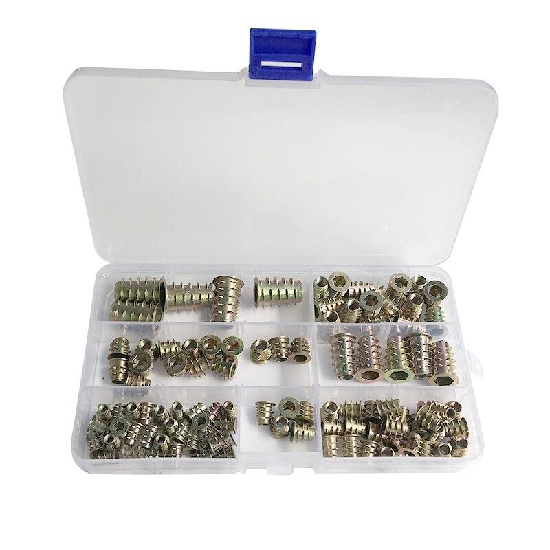 100 Stück Möbel Hex Buchse Schraube Einsätze M4/m5/m6/m8/m10 Zink-legierung Gewinde Einsatz Muttern Sortiment Tool Kit Für Holz