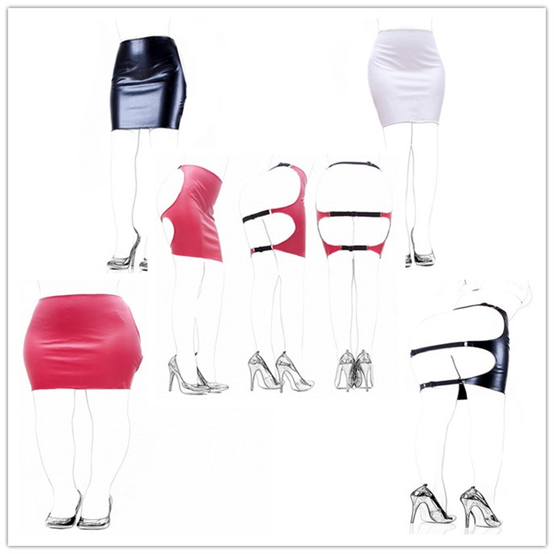 Red/White/Black Sexy Women Pu Leather Slave <font><b>Spanking</b></font> Skirt Open Hip Bondage Fetish Cosplay Mini <font><b>Dress</b></font> Adult Sex Toys image