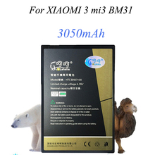 Real Capacity 3050mAh Battery For XIAOMI 3 mi3 BM31 Phone Ba