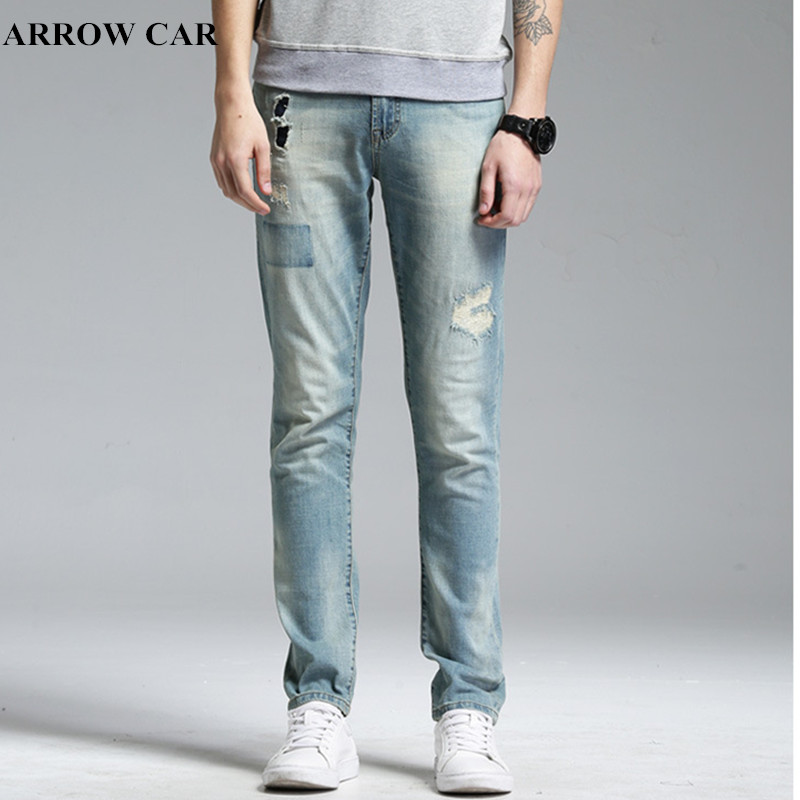 Mens Jeans 2018 New Fashion Spring Summer Straight Slim Stretch Old Hole Patch Casual Stretch Denim PANTS Young Men Trousers