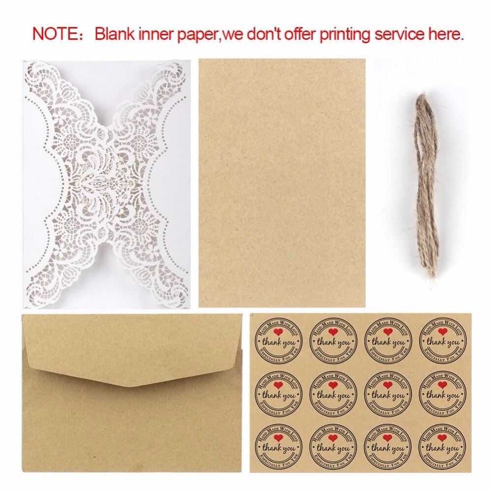 Ourwarm 50pcs Luxury Laser Cut Wedding Invitations Cards Envelope