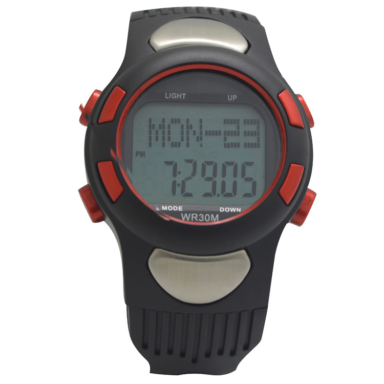 JHO-Water-resistant Sports Pulse Heart Rate Monitor Fitness Exercise Watch Pedometer Calorie Stopwatch Outdoor Cycling Red