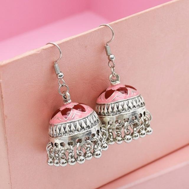 aa19f1b5d Indian Vintage Silver Bells Statement Earrings Thailand Festival Party  Jhumka Earrings Hippie Holloween Boho Jewelry pakistani