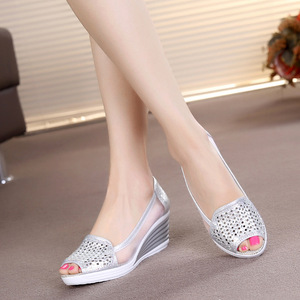 Image 3 - Women Sandals Breathable Mesh Cut out Wedges Summer Shoes Woman Platform Sandals Open Toe Slip On Bling Sandalias Mujer SH031501