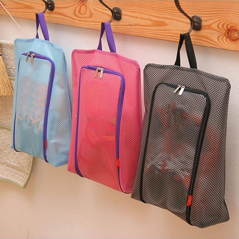Shoe Swimming Bags Storage Portable Waterproof Mesh Nylon Polyester Travel Pouch Organizer With Zipper Handle
