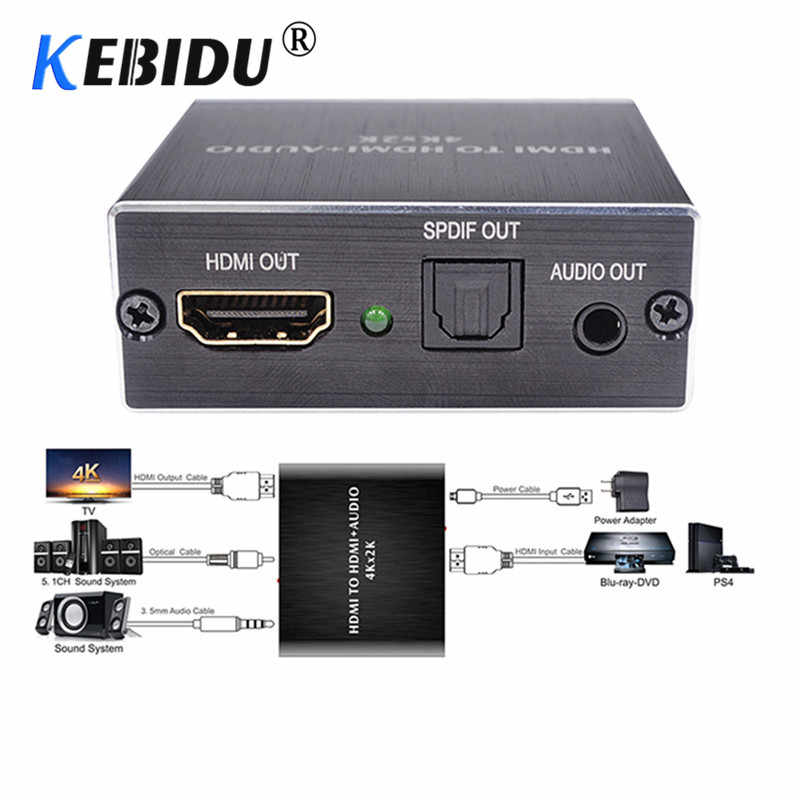 KEBIDU 4 K x 2 K HDMI audio extractor + Ottico TOSLINK SPDIF + 3.5mm Stereo Audio Extractor Convertitore HDMI Audio Splitter