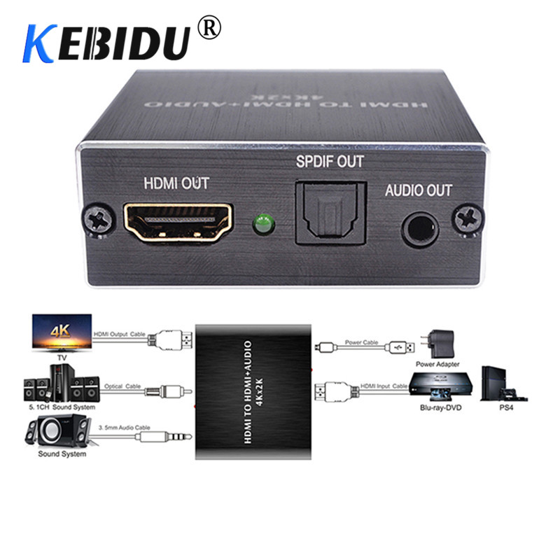 4K 3D HDMI to HDMI and Optical TOSLINK SPDIF 3.5mm Audio Extractor Converter