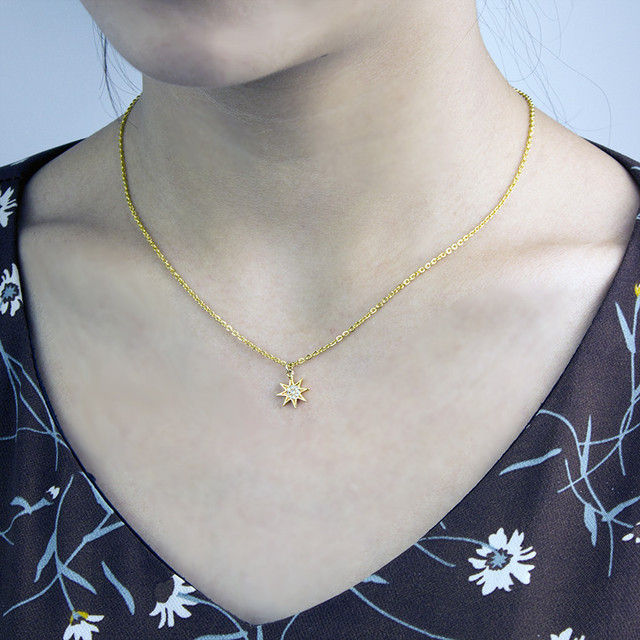 V attirer AAA zircone étoile du nord Collier Chocker femmes breloque Bijoux couleur or chaîne en acier inoxydable Bijoux Femme Collier 2018