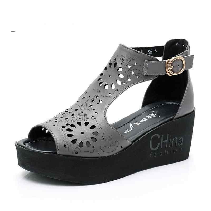 Gktinoo 2020 New Hollow Sandali di Cuoio Genuino Scarpe da Donna Sandali Dei Cunei Della Piattaforma Pattini di Estate Moda Donna Casual Sandali