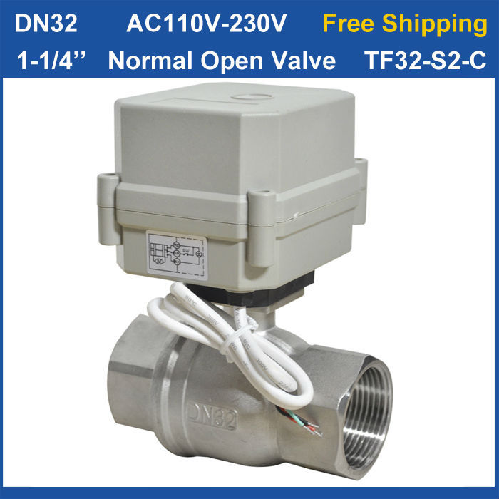 Free shipping DN32 AC110V-230V 2 wires TF32-S2-C 2-Way Stainless Steel 11/4'' Full Port Electric Normal Open Valve Torque 10Nm ac110 230v 5 wires 2 way stainless steel dn32 normal close electric ball valve with signal feedback bsp npt 11 4 10nm