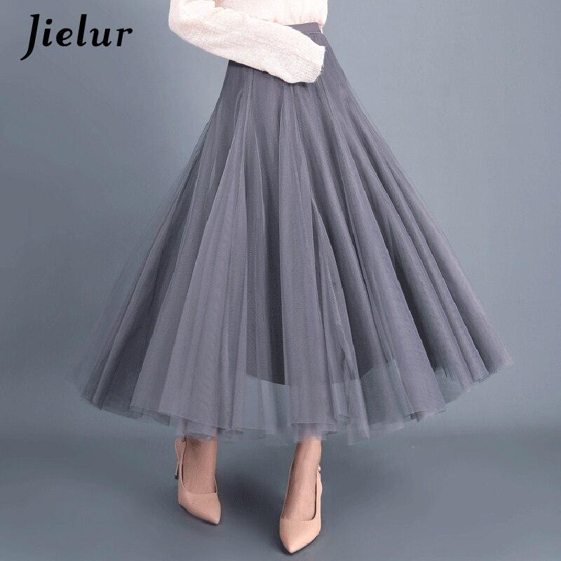 Jielur Skirts Womens Autumn 3 Layers Princess Tulle Mesh Pleated Skirt Saia Female Jupe Summer Tutu Skirts Faldas Mujer Moda 3