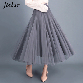 Jielur Skirt Autumn 3 Layers Princess Tulle Skirts Womens Mesh Pleated A-line Saia Female Jupe Tutu Skirts Faldas Mujer Moda 4