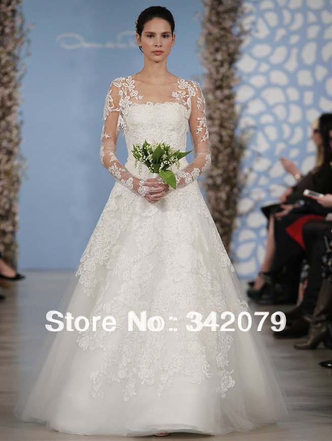 ph11930 ivory lyon chantilly lace tulle strapless gown oscar renta long lace sleeve open back lace wedding dresses