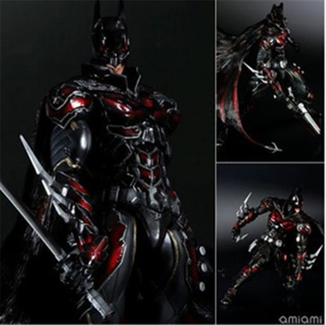 27CM Play Arts KAI DC Comics Variant NO.1 Batman Red Limited Color Ver. PVC Action Figure Collectible Model Toy GS092 playarts kai batman arkham knight batman blue limited ver brinquedos pvc action figure collectible model doll kids toys 28cm
