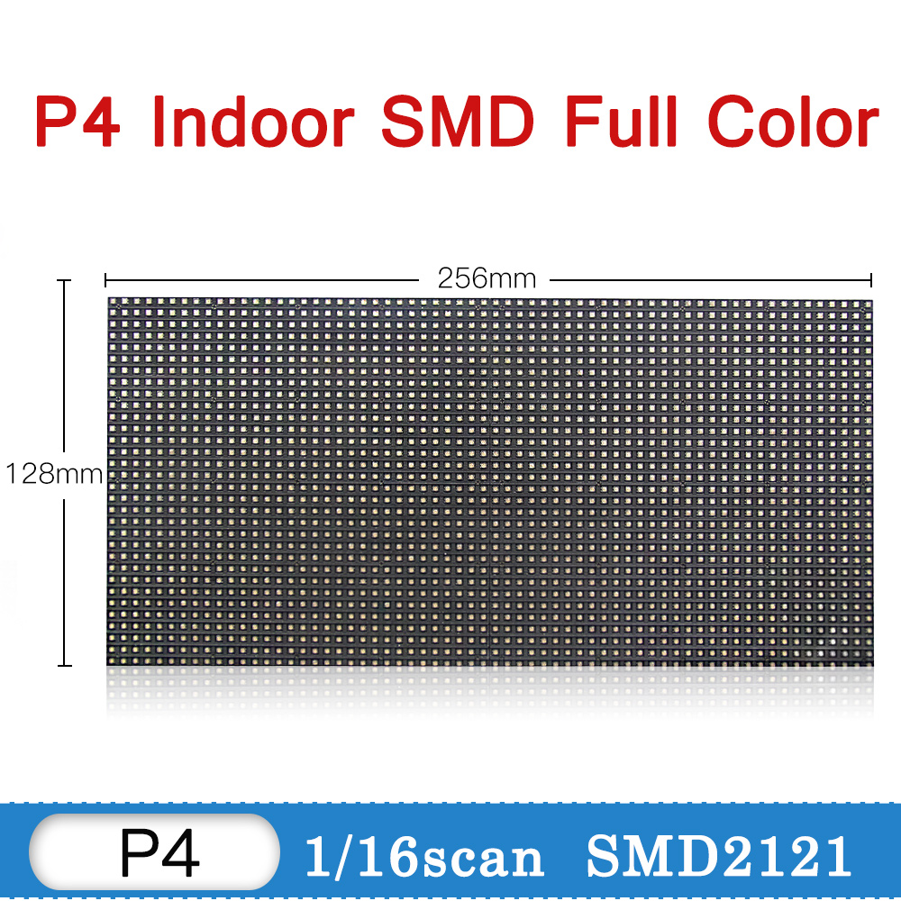 Free Shipping kaler 256*128mm 64*32 pixel 1/16 Scan Indoor full color 3in1 SMD RGB full color P4 led display screen module panel