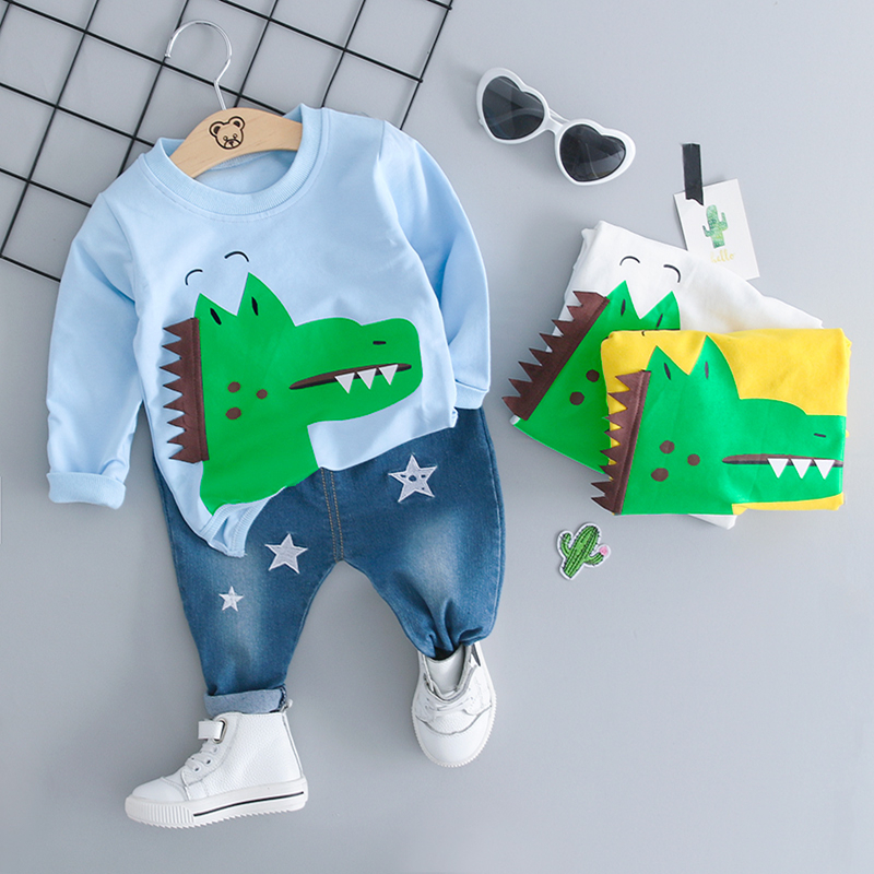 baby boy clothes 2pcs set 2018 Autumn New Fashion cartoon crocdile full sleeve coat 18048 boy kids 2pcs set
