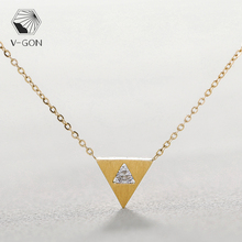 V-GON Triangle CZ Zircon Necklace Golden Drawing Dainty Alloy Pendant Necklace for Women Charm Tiny Simple Ladies Jewelry gon 1