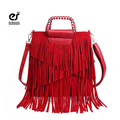 ecosusi Women Fashion Tassel Fringe Handbags Trend PU Leather Shoulder Bag Ladies Black Leather Crossbody Bags Bolsa Feminina