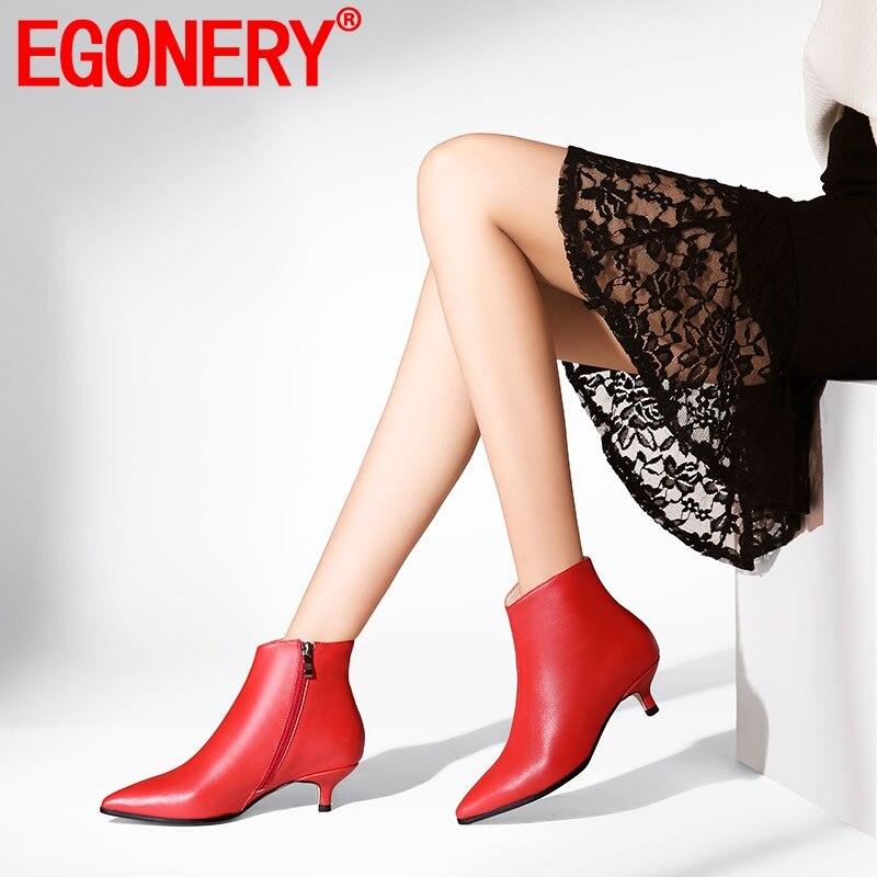 EGONERY حقيقية جلد البقر الأحذية الأزياء امرأة حذاء من الجلد الأحمر الأسود الشتاء أفخم الجوارب مكتب 3 سنتيمتر كعوب منخفضة أحذية مستدقة-في أحذية الكاحل من أحذية على  مجموعة 1