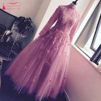 Ball Gown Bridal Dress Long Sleeves High Collar Lace Appliques Court Train Muslim Wedding Dresses