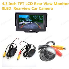 Hot-sell 8LED night vision Rearview Car Camera 4.3 Inch TFT LCD Color Display Pocket-sized Rear View Monitor