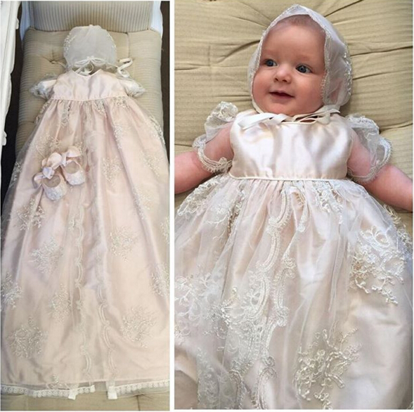 New Heirloom Baptism Gown White Ivory Baby Girls Christening Dress Lace Princess Birthday Gown WITH BONNET with Shoes 2015 white ivory crystals heirloom dedication christening gown blessing dress with bonnet baby baptism robe for boys girls