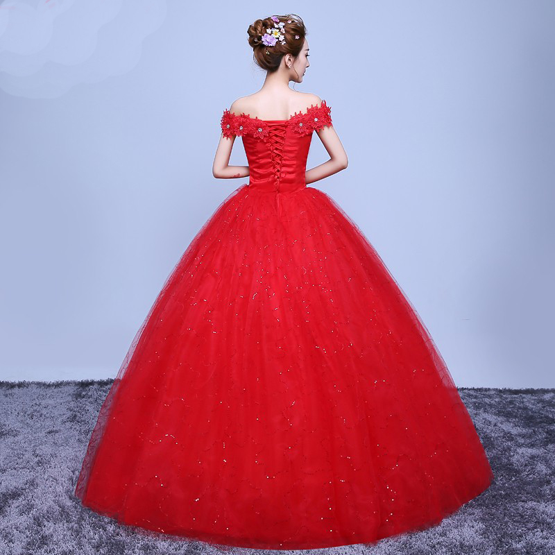 AXJFU red flower lace Wedding Dress red Wedding Dress princess red lace wedding  dress 07 2 S-in Wedding Dresses from Weddings   Events on Aliexpress.com ... 94461e0aa4bc