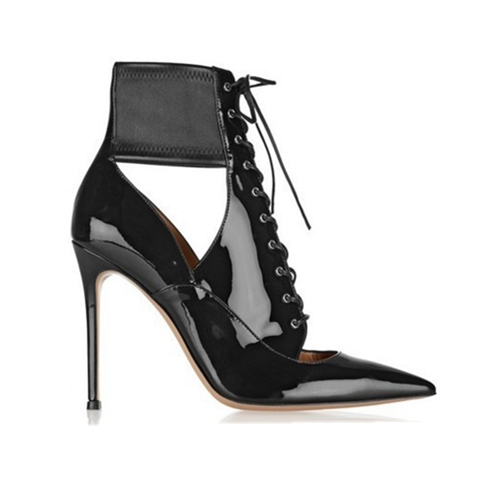 Otoño Verano Fretwork De Mujer Para Black Furtado 2017 Tobillo Sexy Nuevo Stiletto Alto Sandalias Botas Charol Arden Tacón SwItqRnq