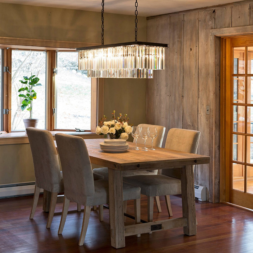 Contemporary Luxury Rectangular Linear Island Dining Room: Luxury Contemporary Rectangular Island Crystal Chandelier